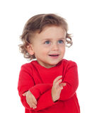 Shy baby with two years wearing red t-shirt Royalty Free Stock Image