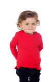 Shy baby with two years wearing red t-shirt Royalty Free Stock Photography
