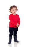 Shy baby with two years wearing red t-shirt Royalty Free Stock Photos