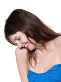 Shy beautiful expressive woman Royalty Free Stock Images