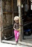 Shy blonde baby girl Solomon Islands Royalty Free Stock Image