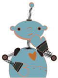 Shy blue child robot illustration Royalty Free Stock Photography