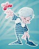 Shy boy. Is giving flower royalty free illustration