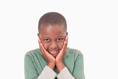 Shy boy posing Stock Photography