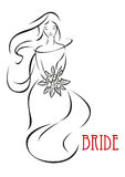 Shy bride with flowers invitation template Royalty Free Stock Photos