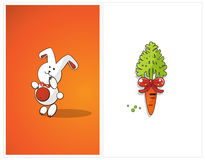 Shy bunny and carrot Royalty Free Stock Images