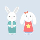 The shy bunnys,  card Royalty Free Stock Photography
