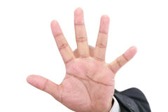 Shy business men hand gesture Stock Photography