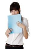 Shy business woman Stock Photo