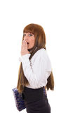 Shy business woman in white shirt and black skirt Royalty Free Stock Photos