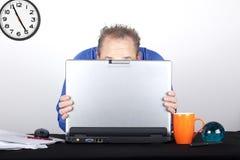 Shy businessmen hidding Stock Photos