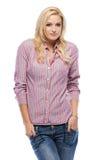 Shy caucasian blonde woman Stock Photos