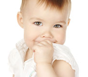Shy child turn and smile Stock Photography