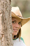 Shy cowgirl Royalty Free Stock Photos