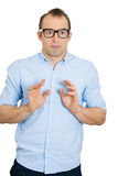 Shy, funny man Stock Photography