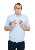 Shy, funny man Royalty Free Stock Photo