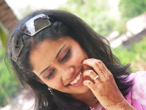 Shy Gal. An Indian gal smiling shyly Royalty Free Stock Photo