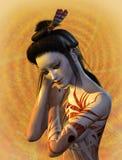 Shy Geisha. 3D render of an elaborately painted geisha with a shy smile Stock Photos