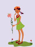 Shy girl. Gives a flower vector illustration Royalty Free Stock Images