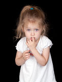 Shy Girl. A shy and sad girl. She looks a little scared stock photography