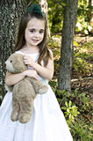 Shy Girl with Bear Royalty Free Stock Photo