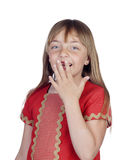 Shy girl with blond hair covering the mouth Royalty Free Stock Image