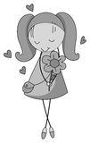 Shy girl holding flower Royalty Free Stock Images