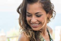 Shy Girl Smiling Stock Photo