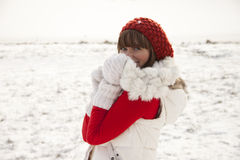 Shy girl on winter background Royalty Free Stock Photos