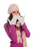Shy girl with wool hat and scarf Royalty Free Stock Photos