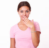 Shy hispanic girl looking at you Royalty Free Stock Images