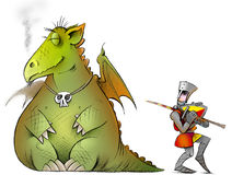 Shy_knight. Sleeping dragon and a shy knight Royalty Free Stock Photos