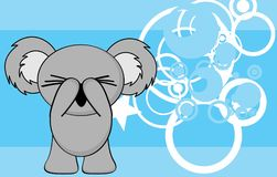 Shy little chubby koala cartoon expression background Stock Photo