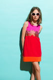 Shy little fashion model Stock Photo