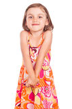 Shy little girl isolated Royalty Free Stock Photography