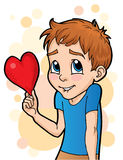 Shy Love. Cute Cartoon of a young boy holding a heart. Shy on Valentine Royalty Free Stock Photography