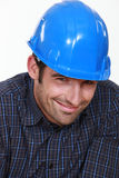 Shy male builder Royalty Free Stock Image