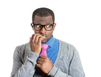 Shy man biting nails Royalty Free Stock Photo