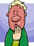 Shy man concept cartoon illustration Royalty Free Stock Photography