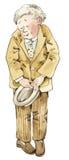 Shy man with hat. Comic cartoon illustration Royalty Free Stock Photo