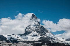 The shy Matterhorn in summer Stock Photography