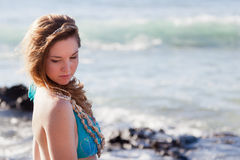 Shy Mermaid Looking Over her Shoulder Royalty Free Stock Photography