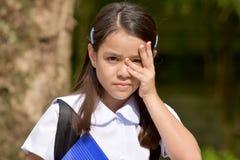 Shy Minority Child Girl Student Wearing School Uniform. A young pretty asian girl child stock image