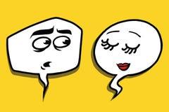 Shy modest comic bubble face man woman. Pop art comic vector illustration Stock Photography
