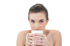 Shy natural brown haired model holding a mug of coffee Stock Image