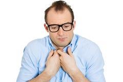 Shy nerdy man Stock Image