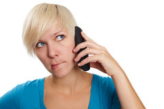 Shy phone call Stock Photography