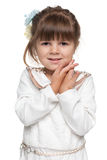 Shy preschool girl Royalty Free Stock Photography