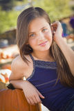Shy Preteen Girl Portrait at the Pumpkin Patch Stock Photos