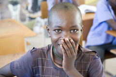Shy schoolgirl in Namibia Royalty Free Stock Photo